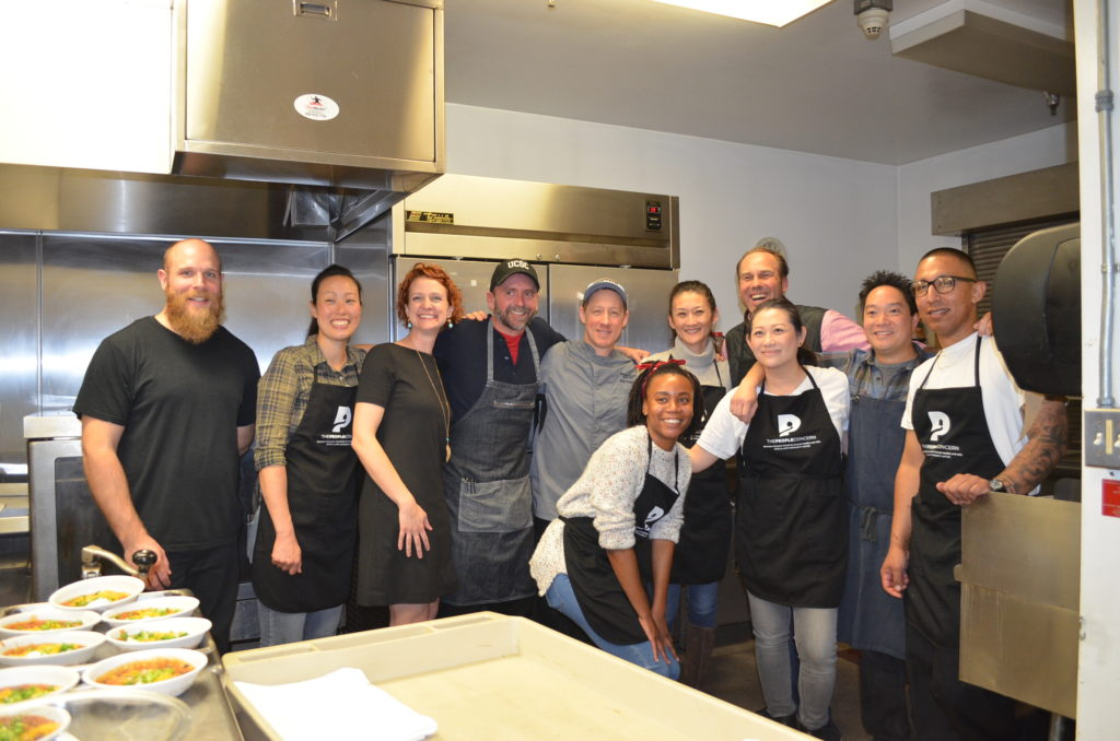 Cassia and Mendocino Farms staff volunteering at The People Concern's Samoshel shelter