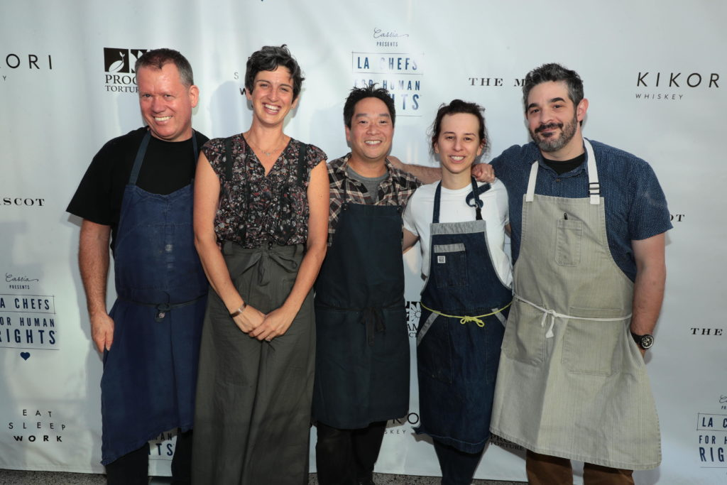 Walter Manzke, Zoe Nathan, Bryant Ng, Jessica Koslow and Jeremy Fox at the 2017 LA Chefs for Human Rights charity gala.