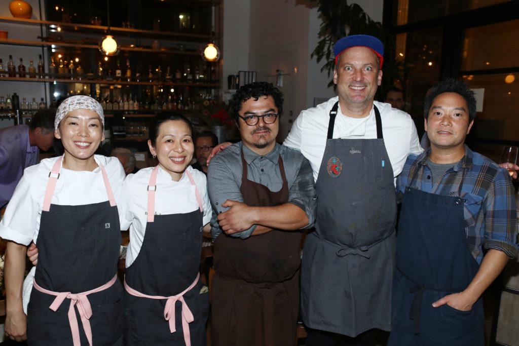 Chefs Carole Iida-Nakayama, Niki Nakayama, Carlos Salgado, Steve Samson and Bryant Ng at the 2018 LA Chefs for Human Rights charity gala